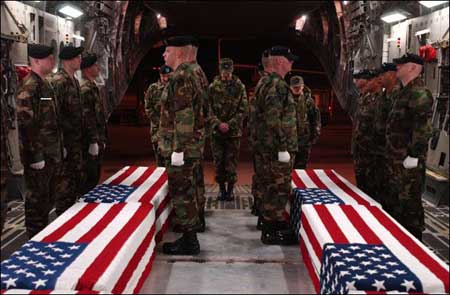 flag draped coffin